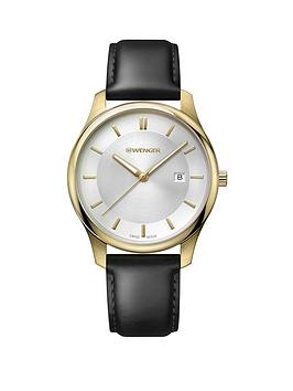 wenger-wenger-swiss-made-city-classic-silver-sunray-and-gold-detail-43mm-date-dial-black-leather-strap-mens-watch