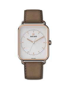 david-daper-david-daper-white-and-rose-gold-38mm-tank-dial-brown-leather-strap-watch