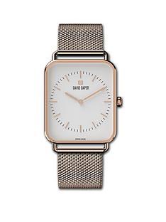 david-daper-david-daper-white-and-rose-gold-34mm-tank-dial-rose-gold-stainless-steel-mesh-strap-watch