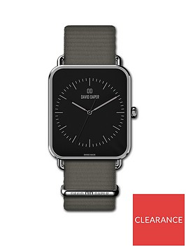 david-daper-david-daper-black-and-silver-38mm-tank-dial-grey-nato-strap-watch