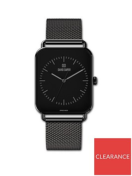 david-daper-david-daper-black-38mm-tank-dial-black-stainless-steel-mesh-strap-watch