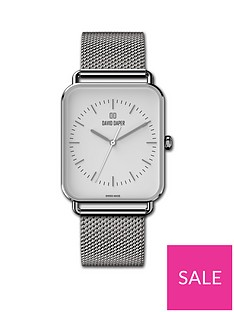 david-daper-david-daper-white-and-silver-38mm-tank-dial-stainless-steel-mesh-strap-watch