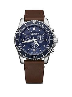victorinox-victorinox-swiss-made-maverick-blue-and-silver-detail-sapphire-glass-chronograph-43mm-dial-brown-leather-strap-watch