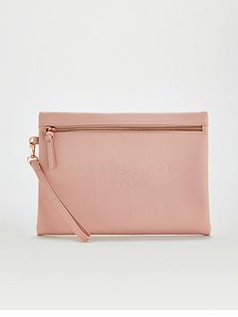 ted-baker-saffiano-deboss-wristlet-pouch-dusky-pink
