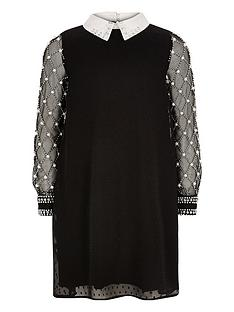 river-island-black-pearl-collar-dress