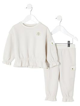river-island-mini-mini-girls-utility-sweatshirt-and-jog-pants-set-beige
