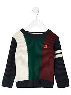 river-island-mini-mini-boys-blocked-knitted-jumper-navy