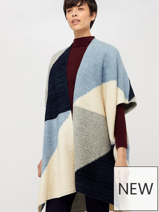 Polly Colour Block Poncho - Blue