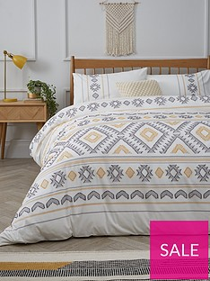 aztec-cut-jacquard-duvet-cover-set