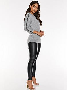 quiz-light-knit-diamante-trim-long-sleeve-ruched-side-top-grey
