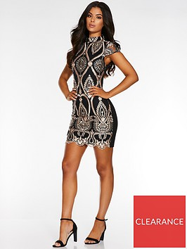 quiz-high-neck-sequin-mini-dress-blackrose-gold