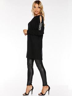 quiz-beaded-cold-shoulder-light-knit-black