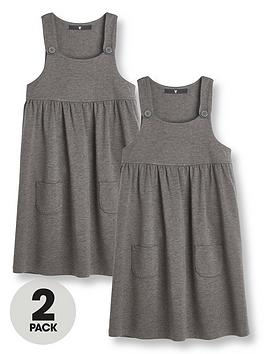 v-by-very-girls-2-pack-jersey-pinaforenbspschool-dresses-grey
