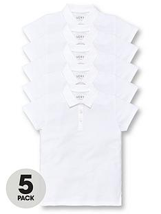 v-by-very-girls-5-pack-school-polo-tops-white
