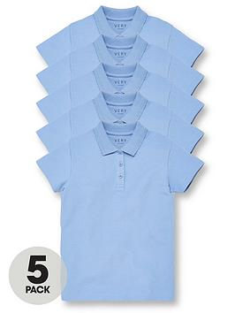 v-by-very-girls-5-pack-school-polo-tops-blue