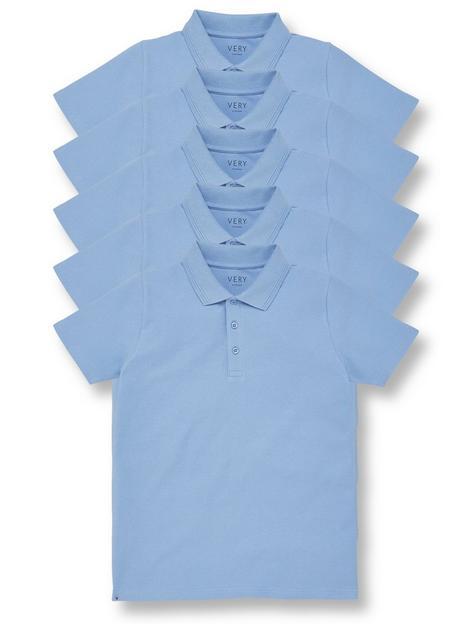v-by-very-boys-5-pack-polo-school-tops-blue
