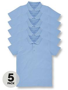 v-by-very-boys-5-pack-polo-school-tops-blue