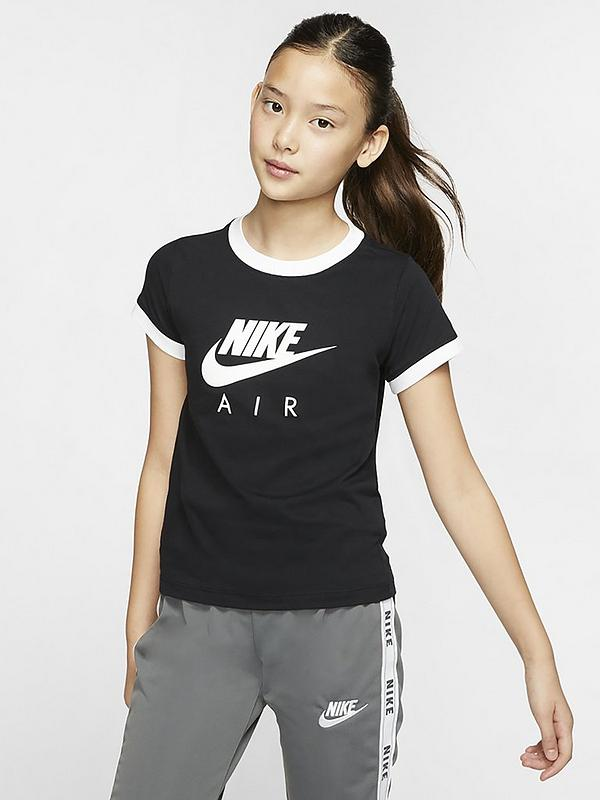 excepción defecto Monumento  Nike Sportswear Air Older Girls Ringer T-Shirt - Black | very.co.uk