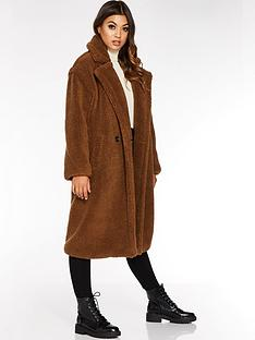 quiz-teddy-fleece-coat-brown
