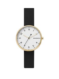 skagen-white-and-gold-case-dial-black-leather-strap-watch