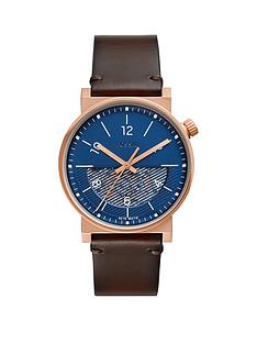 fossil-fossil-barstow-automatic-blue-and-rose-gold-case-half-skeleton-automatic-dial-brown-leather-strap-mens-watch