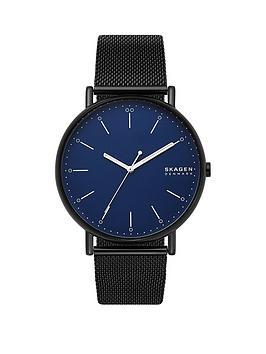 skagen-skagen-blue-dial-black-leather-strap-watch