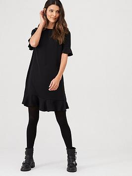 v-by-very-ruffle-detail-formal-tunic-dress-black