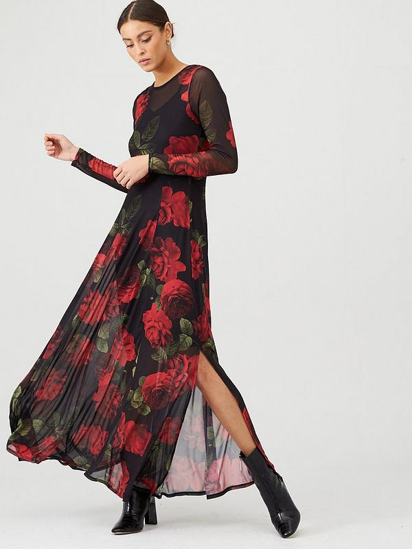 Mesh Long Sleeve Maxi Dress Floral