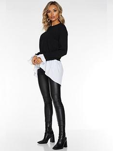quiz-knit-round-neck-shirt-jumper-black
