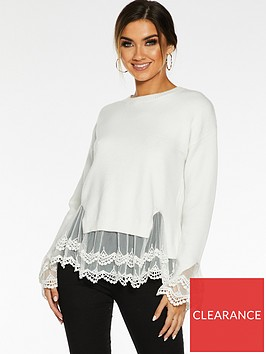 quiz-quiz-knitted-long-sleeve-lace-hem-and-cuff-jumper
