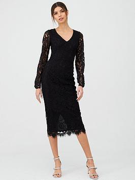 v-by-very-v-neck-lace-midi-dress-black