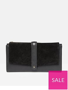 joules-aycliffe-suede-large-foldover-purse-black