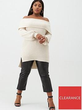 v-by-very-curve-bardot-tunic-jumper-cream