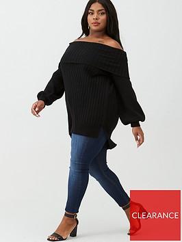 v-by-very-curve-bardot-tunic-jumper-black