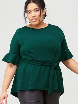 v-by-very-curve-crepe-belted-pleat-top-bottle-green