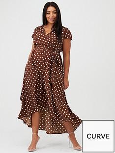 ax-paris-curve-spotted-dip-hem-midi-dress-brown