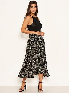 ax-paris-spotty-pleated-midi-skirt-black