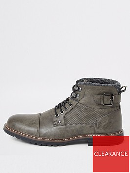 river-island-dark-grey-lace-up-buckle-military-boots