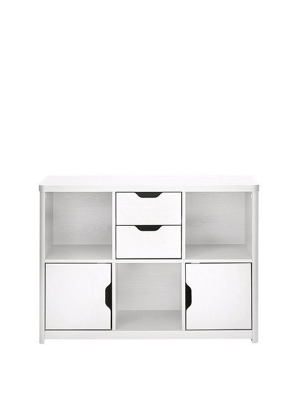 Aspen Multi Storage Unit White Oak, White Storage Furniture Uk