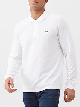 Lacoste Sportswear Classic Long Sleeve Pique Polo Shirt - White