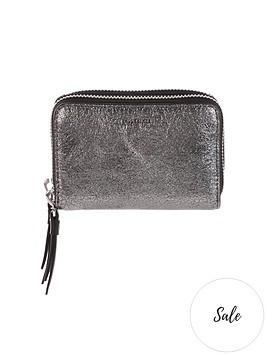 allsaints-miki-lea-distressed-metallic-card-holder-silver