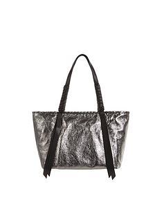 allsaints-miki-lea-distressed-metallic-tote-bag-silver