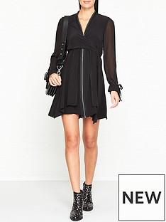 allsaints-jayda-long-sleeve-zip-dress-black