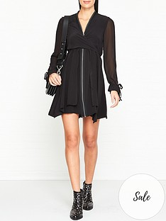 allsaints-jayda-long-sleeve-zip-dress-black