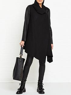 allsaints-monument-lea-leather-sleeve-coat-black