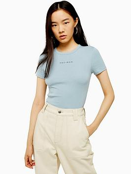 topshop-oui-non-mini-motif-t-shirt-blue