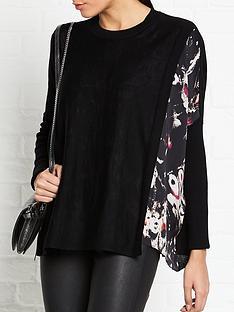 allsaints-koko-wing-print-insert-wrap-jumper-black