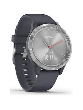 Garmin Vivomove 3S Hybrid Smartwatch - Granite Blue Silicone Strap With Silver Hardware