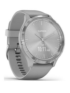 garmin-vivomove-3-hybrid-smartwatch-powder-grey-silicone-strap-with-silver-hardware