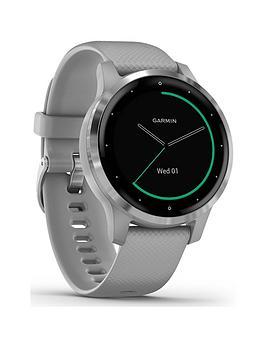 Garmin Garmin Vivoactive 4S, Smaller-Sized Gps Smartwatch, Features Music, Body Energy Monitoring, Animated Workouts, Pulse Ox Sensors And More, Powder Gray/Silver